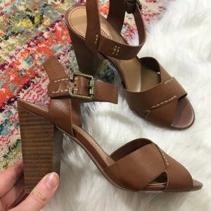 Crown Vintage • Chunky Heeled Cognac Sandals